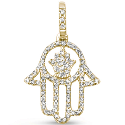 ".20ct G SI 14kt Yellow Gold Hand of Hamsah Chai Jewelry Diamond Pendant 1"" Long"