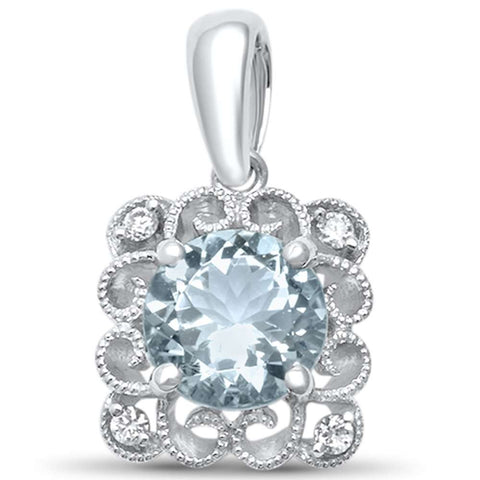 "<span>GEMSTONE CLOSEOUT! </span> 1.04ct G SI 14kt White Gold Natural Aquamarine & Diamond Pendant .62"" Long"