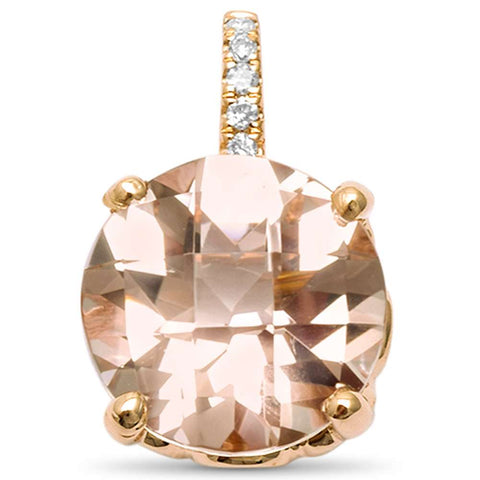 "2.25ct G SI 14kt Rose Gold Morganite & Diamond Solitaire Pendant .5"" Long"