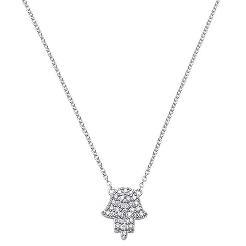 .11ct 14kt White Gold Diamond Trendy Hand of Hamsa Chai Necklace 18""