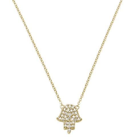 .11ct 14kt Yellow Gold Trendy Hand of Hamsa Chai Necklace 18""