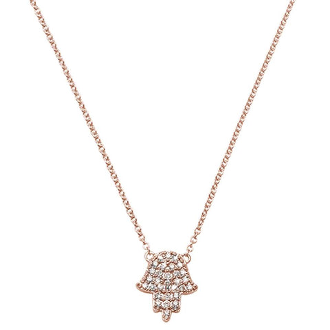 .11ct 14kt Rose Gold Trendy Hand of Hamsa Chai Necklace 18""