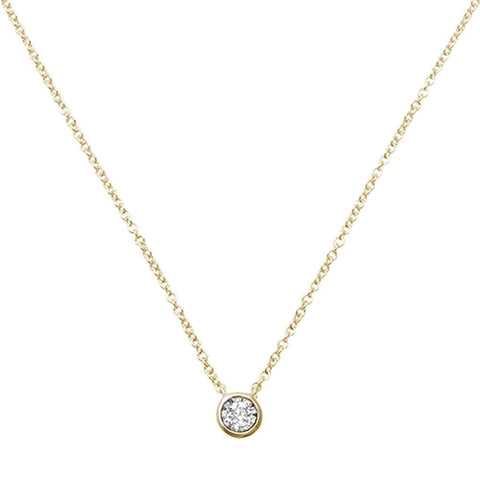 ".06ct 14kt Yellow Gold Round Bezel Diamond Solitaire Pendant 18"" Necklace"