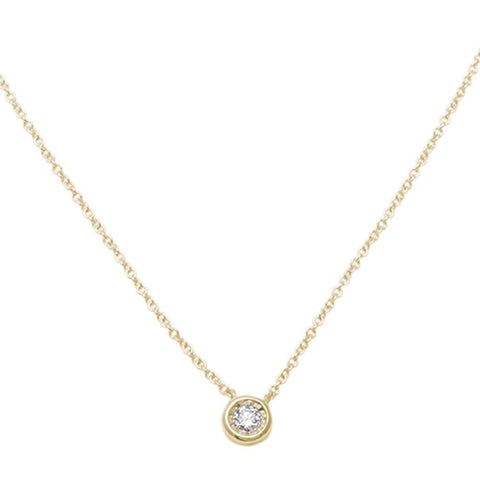 ".06ct 14kt Yellow Gold Bezel Solitaire Round Diamond Pendant 18"" Necklace"