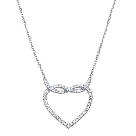 ".24ct 14kt White Gold Infinity Love Knot Heart Diamond Pendant 18"" Necklace"