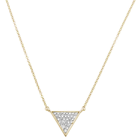 ".15ct 14kt Yellow Gold Triangle Trendy Diamond Pendant 18"" Necklace"