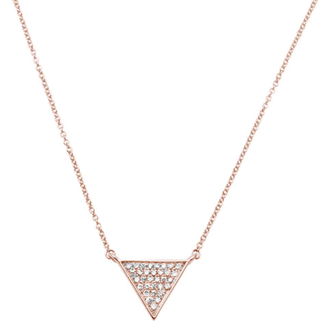".15ct 14kt Rose Gold Triangle Trendy Diamond Pendant 18"" Necklace"