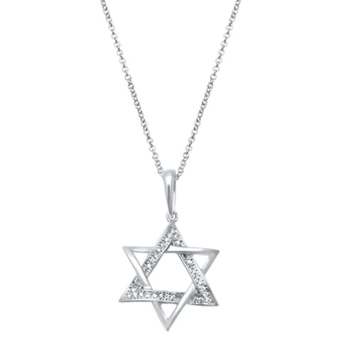 .05ct 14kt White Gold Diamond Star of David Charm Necklace Pendant 18""