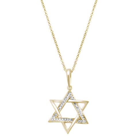 .05ct 14kt Yellow Gold Diamond Star of David Charm Necklace Pendant 18""