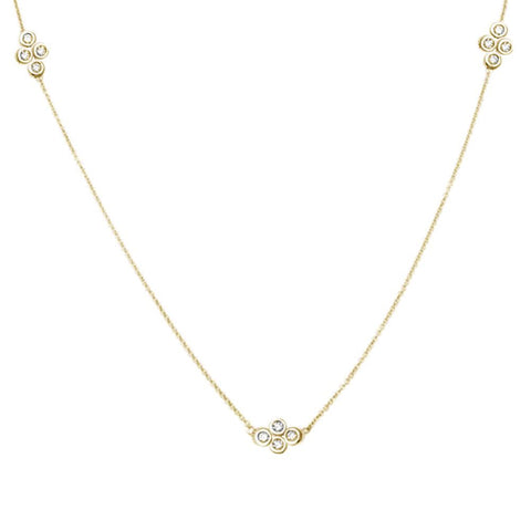 .16cts 14k Yellow Gold Diamond Station Necklace 18""