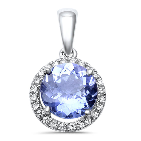 1.22ct 14kt Round Genuine Tanzanite & Halo Diamond Pendant