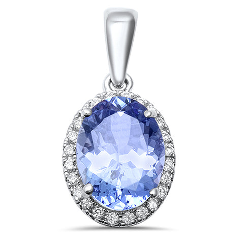 1.54ct 14kt White Gold Oval Tanzanite Halo Diamond Pendant