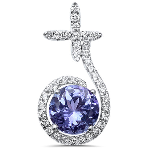 1.54ct 14kt White Gold Unique Modern Tanzanite Drop Diamond Pendant