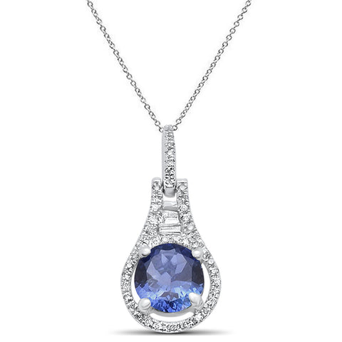 1.03cts 14k White gold Round Tanzanite & Diamond Designer Pendant