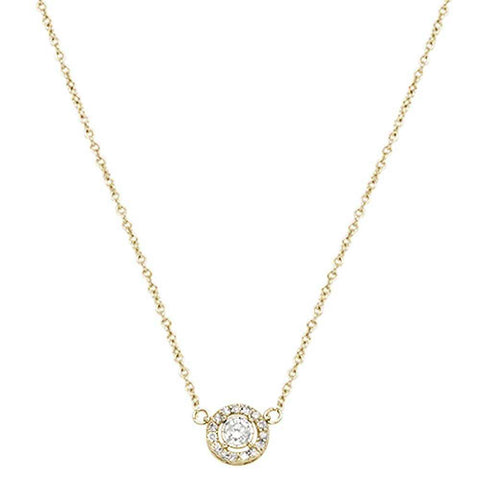 .17ct 14k Yellow Gold Diamond Round Halo Solitaire Pendant Necklace 18""