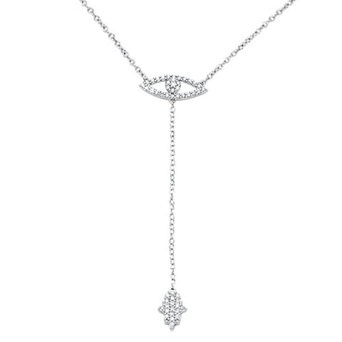 .22cts 14kt White Gold Round Diamond Evil Eye Chai Lariat Necklace 18""