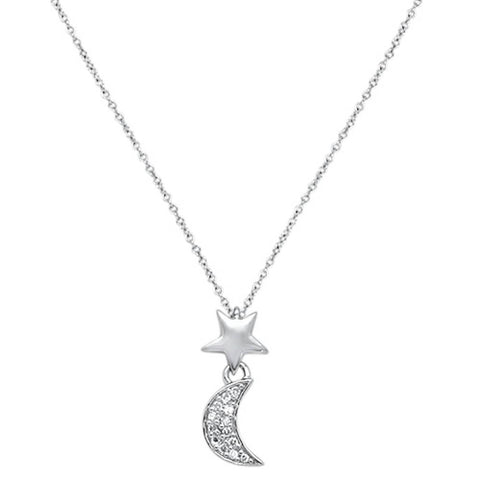 ".05cts 14kt White Gold Crescent Moon Star Diamond Pendant Necklace 18"" Long"