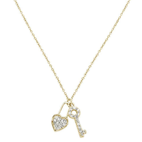.13cts 14kt Yellow Gold Round Diamond Key to My Heart Pendant Necklace 18""