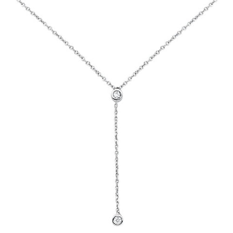".06cts 14kt White Gold Round Diamond Drop Lariat Pendant Necklace 18"" Long"