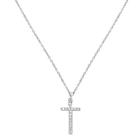 ".07cts 10kt White Gold Round Diamond Cross Pendant Necklace 18"" Long"