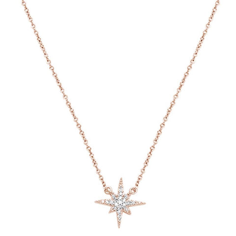 ".1ct 14k Rose Gold Diamond Starburst Charm Pendant Necklace 18"" Long"
