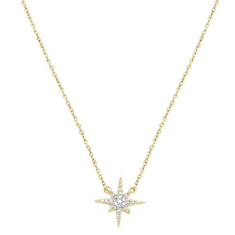 ".10ct 14k Yellow Gold Diamond Starburst Charm Pendant Necklace 18"" Long"