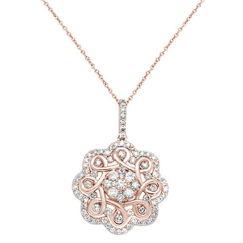 "<span style=""color:purple"">SPECIAL!</span>1.33cts 14kt Rose Gold Round Diamond Antique Filigree Pendant Necklace 18"""