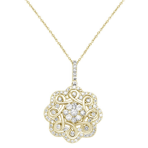 1.34ct 14K Yellow Gold Elegant Filigree Pendant Necklace