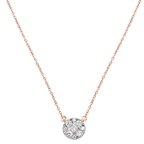 ".39cts 14kt Rose Gold Round Diamond Solitaire Pendant Necklace 18"" Long"