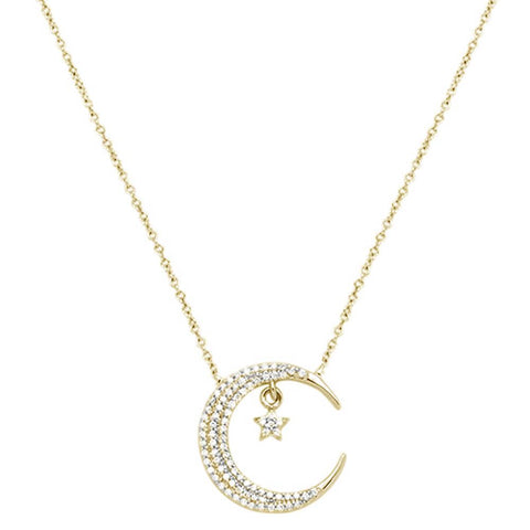".17ct 14k Yellow Gold Crescent Moon Star Diamond Pendant Necklace 18"" Long"
