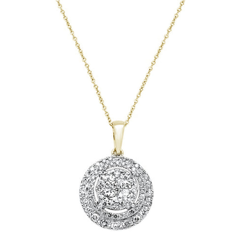 "1.10ct 14k Yellow Gold Round Diamond Pendant Necklace 18"" Long"