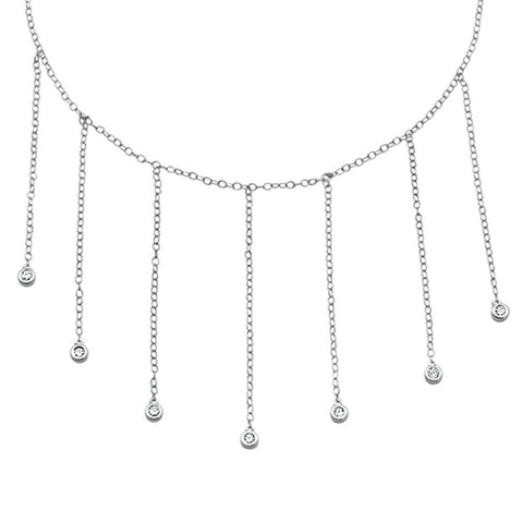 """.13cts G SI 14kt White Gold Round Diamond Key to my Heart Pendant Necklace 18/"""""""
