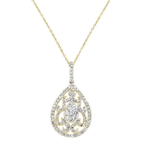 .98ct 14k Yellow Gold Diamond Pear Shaped Filigree Pendant Necklace 18""