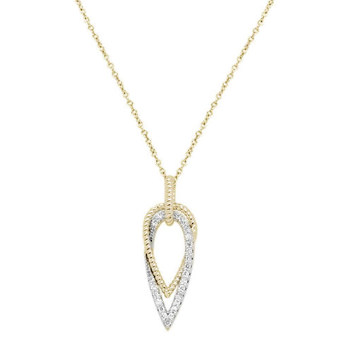 ".16ct 14k Yellow Gold Diamond Modern Design Pendant Necklace 18"" Long"