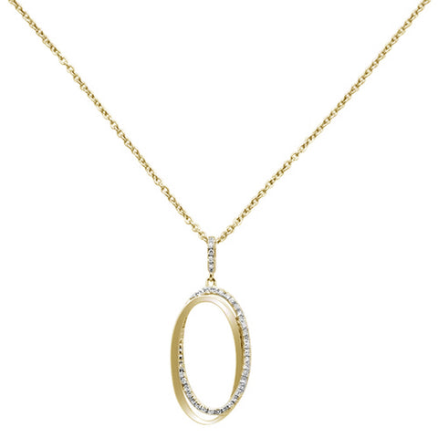 .21ct 14KT Yellow Gold Diamond Trendy Oval Drop Pendant Necklace 18""