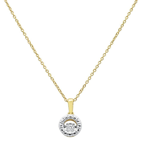".03ct 14k Yellow Gold Dancing Diamond Solitaire Pendant Necklace 18""Long"