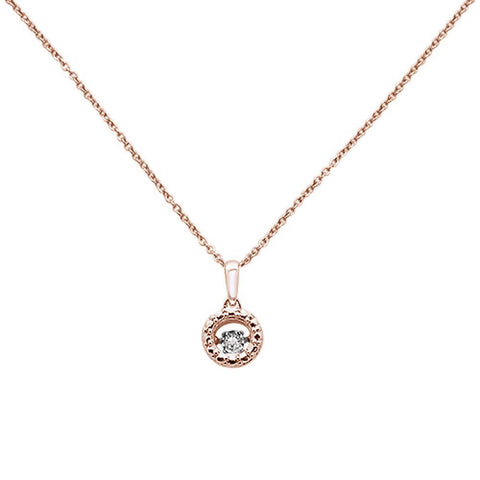 ".03ct G SI 14k Rose Gold Solitaire Dancing Diamond Pendant Necklace 18"" Long"