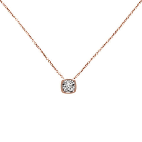 ".16ct F SI 14K Rose Gold Diamond Solitaire Pendant Necklace 18"" Long"