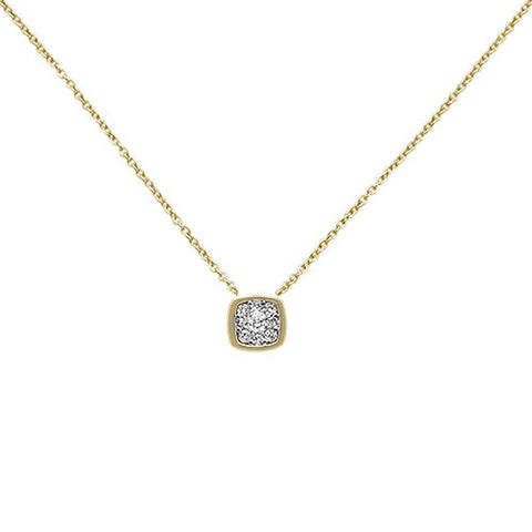 .15ct 14k Yellow Gold Diamond Square Shape Solitaire Pendant Necklace 18""