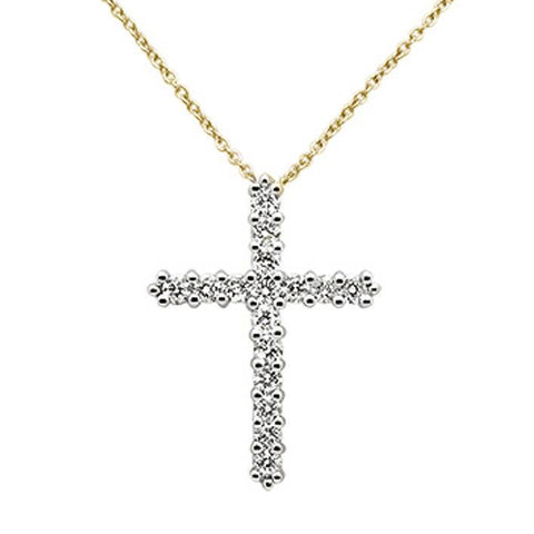 "<span style=""color:purple"">SPECIAL!</span>1.00ct 14k Yellow Gold Diamond Cross Pendant Necklace 18"" Long"