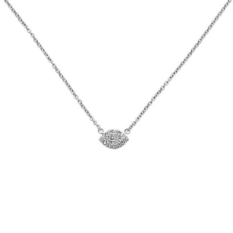 ".28ct 14k White Gold Diamond Evil Eye Chai Pendant Necklace 18"" Long"