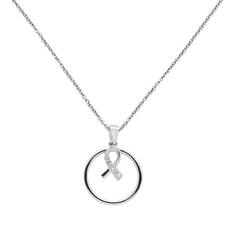 .05ct 14k White Gold Diamond Breast Cancer Pink Ribbon Pendant Necklace 18""