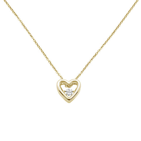 ".05ct 14k Yellow Gold Diamond Heart Pendant Necklace 18"" Long"