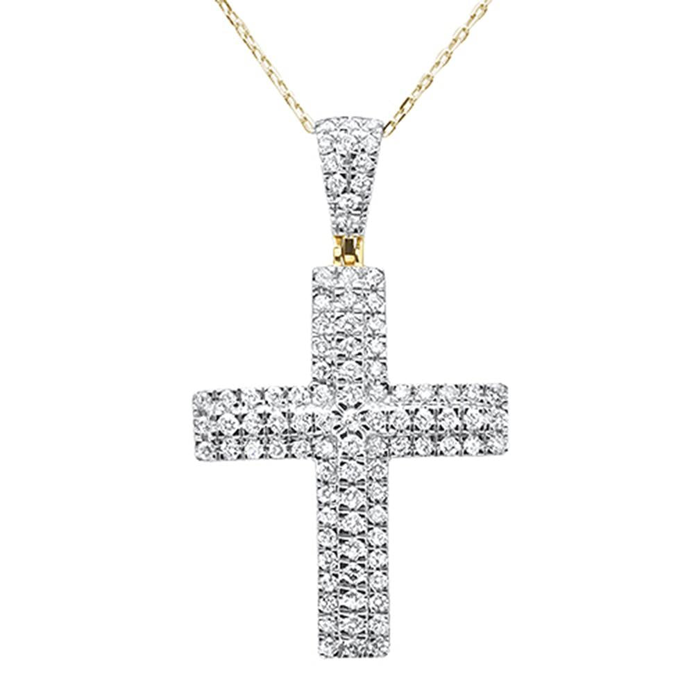 "<span style=""color:purple"">SPECIAL!</span>.98ct 14k Yellow Gold Diamond Micro Pave Cross Pendant Necklace 18"""