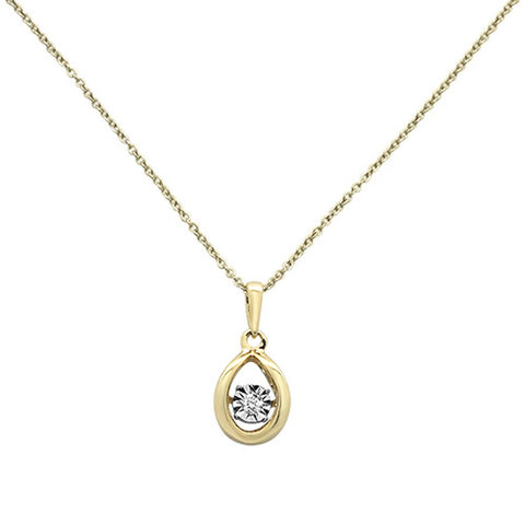 ".04ct 14k Yellow Gold Diamond Sparkling Pendant Necklace 18"" Long"