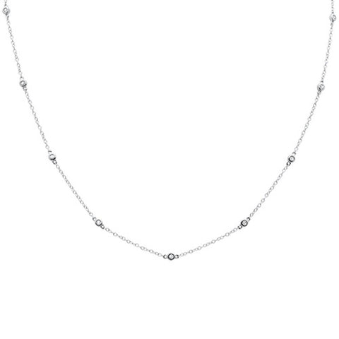 ".28ct 14k White Gold Diamond by The Yard Pendant Necklace 18"" Long"