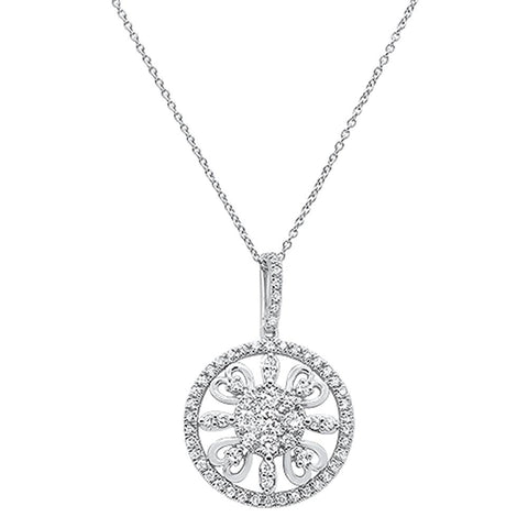 ".99ct 14k White Gold Antique Heart Filigree Diamond Pendant Necklace 18"" Long"