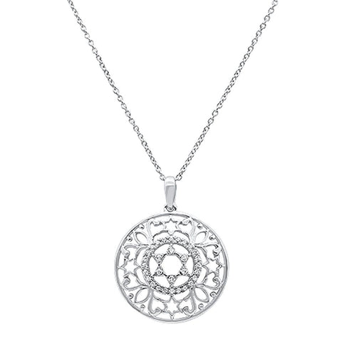 ".14ct 14k White Gold Filigree Star of David Diamond Pendant Necklace 18"" Long"