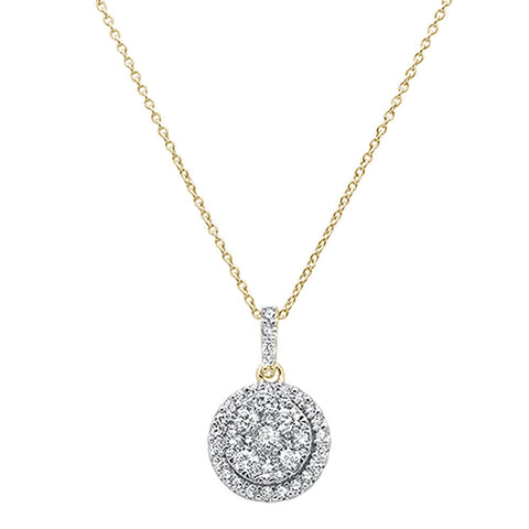 1.01ct 14k Yellow Gold Round Diamond Designer Solitaire Pendant Necklace 18