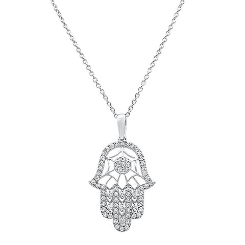 ".25ct 14k White Gold Diamond Hand of Hamsah Chai Pendant Necklace 18""Long"